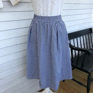 Black & White Gingham Small Check Plaid Midi Skirt